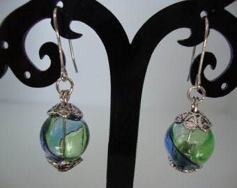 Hand blown green and blue glass bead earrings