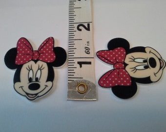 Girl cartoon mouse with red polka dot bow PLANAR resins--for bow centers, scrapbooking, crafting--resins, cabochons, embellishments