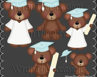 Turquoise/White Graduation Bears Clipart