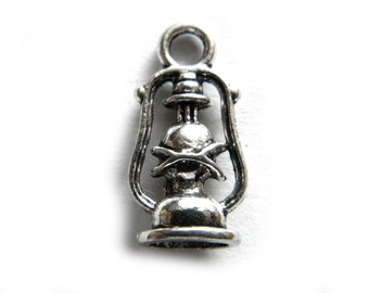 6 Oil Lamp Charms - Camping Charm