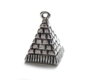 6 Silver Pyramid Charms