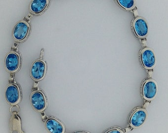 Natural Blue Topaz Bracelet 925 Sterling Silver