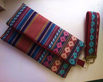 Imported Andean Fabric - medium Womens Wallet Clutch - iPhone/SamsungGalaxy - 4 Slots with partition and coin pouch