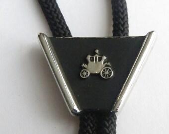 Hickok Bolo Tie, Vintage  Hickok  Silver Tone  Antique Carriage  Coach Car Bolo Tie IC  Lot 3