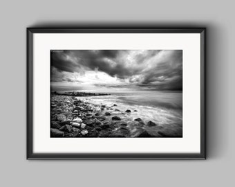Approaching storm, Wales / fine art / black and white print / photograph / drama / seascape / stormy / wall art / seaside print