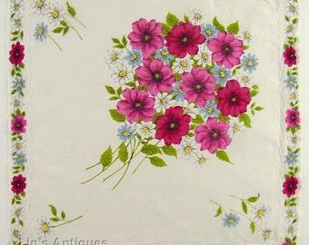 Bouquet of Pink Flowers Vintage Handkerchief  (Inventory #M4266)