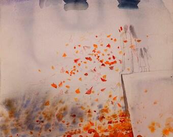 Art,Original, Landscape Fine Art, landscape,Watercolor,love,Painting Artwork summer, Gift,30x24in, Romantic landscape,lake, Germany,Me and I