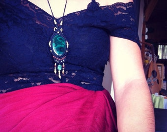 malachite necklace MAGICAL malachite pendent with Magical brass beads TRIBAL bohemian gipsy jewelry art of goddess