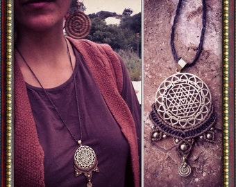 Flower of life necklace with macrame Sri Yantra pendent MAGICAL mandala TRIBAL bohemian art of goddess