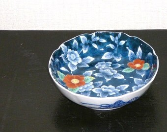 Vintage Japanese Bowl Blue Orange Floral Showatougei @100