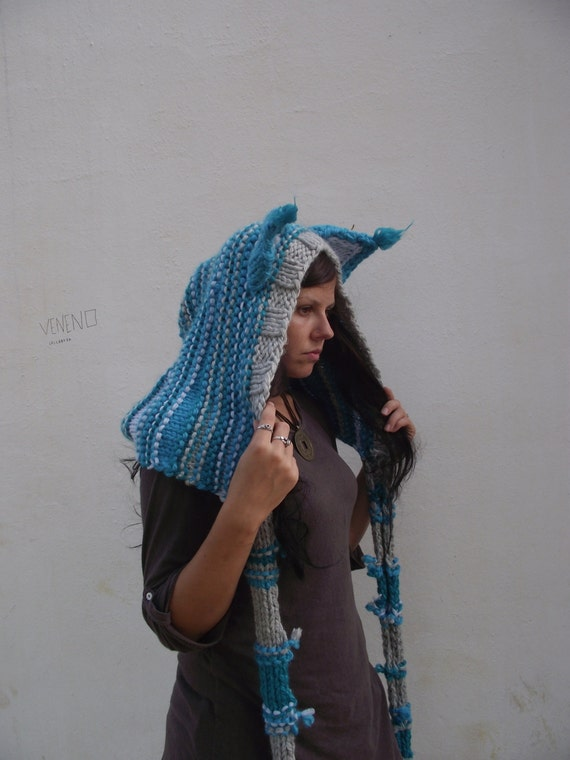 Knitting Pattern Hood With Ears : Cat ears Hoodie Scarf Cheshire Cat Costume Scarf with Hood