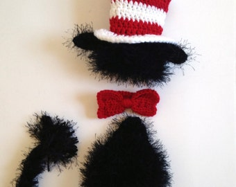 Dr Seuss Cat in the Hat Outfit, Newborn Cat in the Hat, Newborn Dr Seuss Photo Prop, Cat in the Hat Photo Prop, Newborn Photo Prop