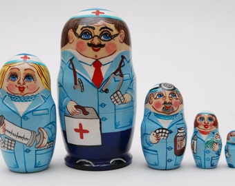 Russian Sergiev Posad nesting doll with doctors 5 pc Free Shipping plus free gift!
