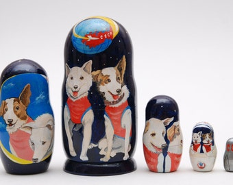 EXCLUSIVE Russian Belka and Strelka dogs matryoshka babushka russian nesting doll 5 pc Free Shipping plus free gift!