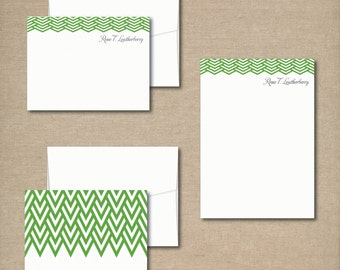 Complete Personalized Stationery Set - MODERN CHEVRON - Personalized Stationery / Stationary - choose your color
