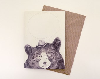 Write-Your-Own-Message Bear Illustrated Greetings Card