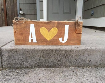 Inital love - wood typography sign