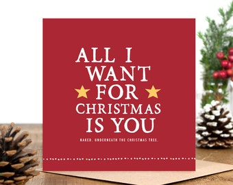 Funny Christmas Card - Card for Boyfriend - Card for Girlfriend  - Card for Husband Wife - Card For Best Friend - Naked Christmas