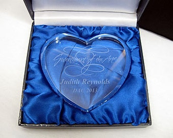 Crystal Heart Paperweight, Engraved Glass Heart Paperweights, Personalized Heart Paperweights, Crystal Heart Awards