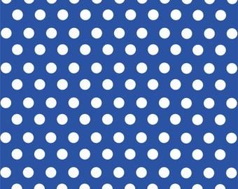 Blue with white polka dot pattern craft  vinyl sheet - HTV or Adhesive Vinyl -  medium polka dots HTV1609
