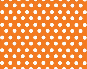 Orange with white polka dot pattern craft  vinyl sheet - HTV or Adhesive Vinyl -  medium polka dots HTV1617