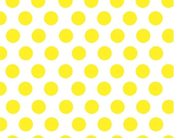 Yellow dot craft  vinyl sheet - HTV or Adhesive Vinyl -  white with large polka dot pattern HTV751
