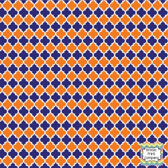 Navy and orange quatrefoil pattern vinyl by BreezePrintCompany