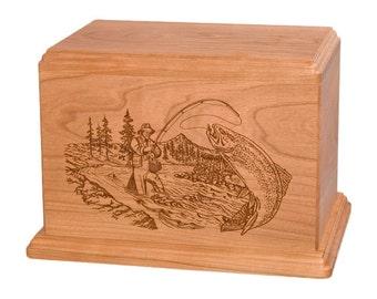 Cherry Stream Fishing Wood Cremation Urn