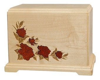 Maple Roses Wood Cremation Urn