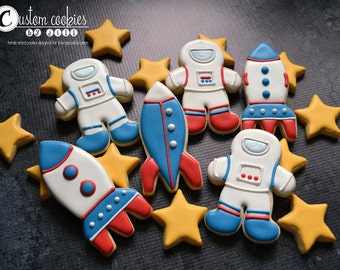 1 DOZEN - Astronauts Space Ship Rocket Stars Decorated Cookies Custom