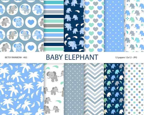 Baby elephant digital paper elephant scrapbook paper baby Zip Clipart