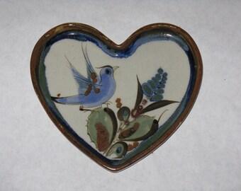 Ceramic heart shaped dish tray pottery bird blue
