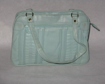 Ralfeaux vintage feaux leather purse teal light blue vinyl