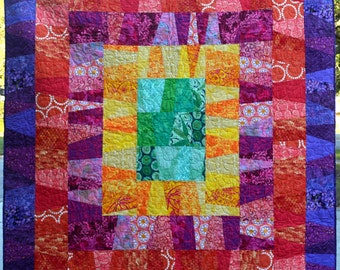 Large Modern quilt with bright, saturated colors, Primary and Jewel Tones