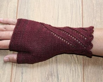 Merino Silk Fingerless Gloves - Mittens - Deep Cherry Red