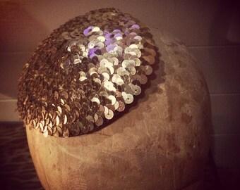 Handmade Gold Sequin Button Fascinator