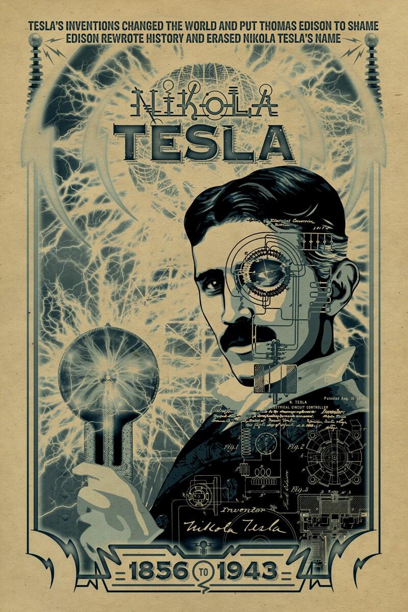 Nikola Tesla poster. 12x18. Inventor. Thomas Edison.