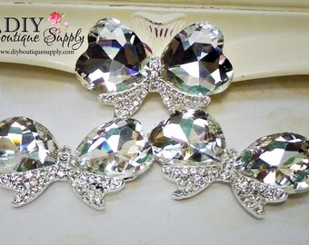 GORGEOUS HUGE Hearts Crystal Bow Embellishment Rhinestone Buttons flatback Bridal Accessories Shoe Clips flowers centers 3 pc 60mm 789040