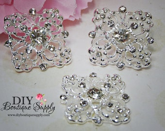 Set of 5 Crystal Flatback Rhinestone buttons Embellishment for Baby Headbands flower centers invitations Hair Bow Centers 25mm 861033