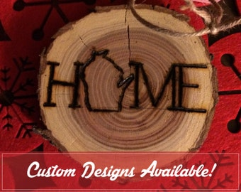 HOME Wisconsin Holiday Ornament Woodburn Log Slice