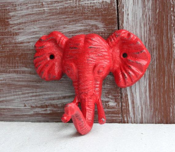 Items Similar To Red Elephant Hook Animal Wall Decor Bath Hook Jungle Theme Nursery Decor