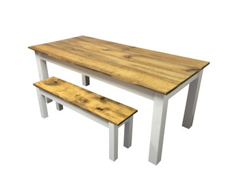 Rustic Barn wood & white Farmhouse Table / Harvest Table / Reclaimed wood Table