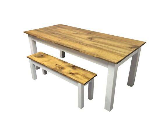 Rustic Barn wood white Farmhouse Table Harvest Table