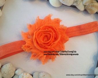 Orange Shabby Chic Headband, Shabby Head band, Orange Shabby Chic Headband, Headband, Baby Headband, Chic Headbands, 34 color headbands