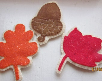 felt leaf and acorn cookies