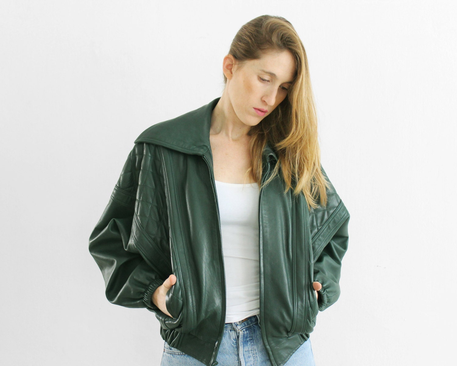 vintage leather jacket / 80s forest green by PaintYourWagonShop