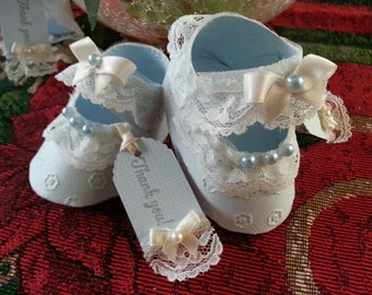 Set Of Ten Baby Blue Mary Jane Shoe Favors / Shoe Favor / Baby Shower Favors