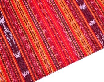 Red Stripes Ikat (#41) Handmade Fabric from Guatemala - 100% Cotton - Sold by yard