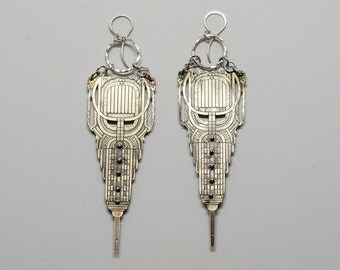 Large brass Empire Statement Earrings