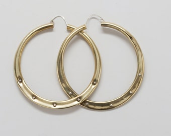 Large Brass Hoops with Sterling Silver Studs